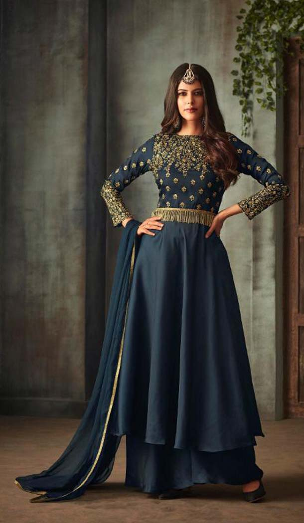 Navy Blue Color Silk Party Wear Long Anarkali Salwar Kaneez -618277165