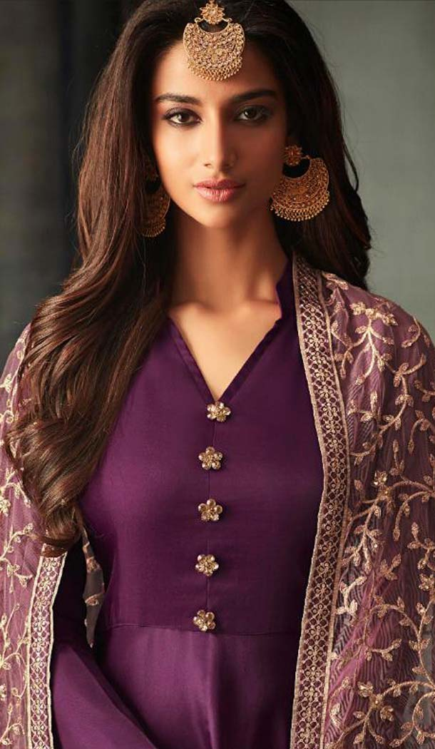 Purple Color Silk Party Wear Long Anarkali Salwar Kaneez -618277168