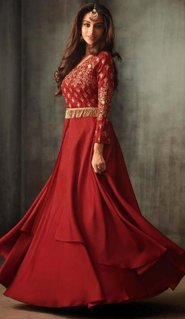 Red Color Silk Party Wear Long Anarkali Salwar Kaneez -618277169