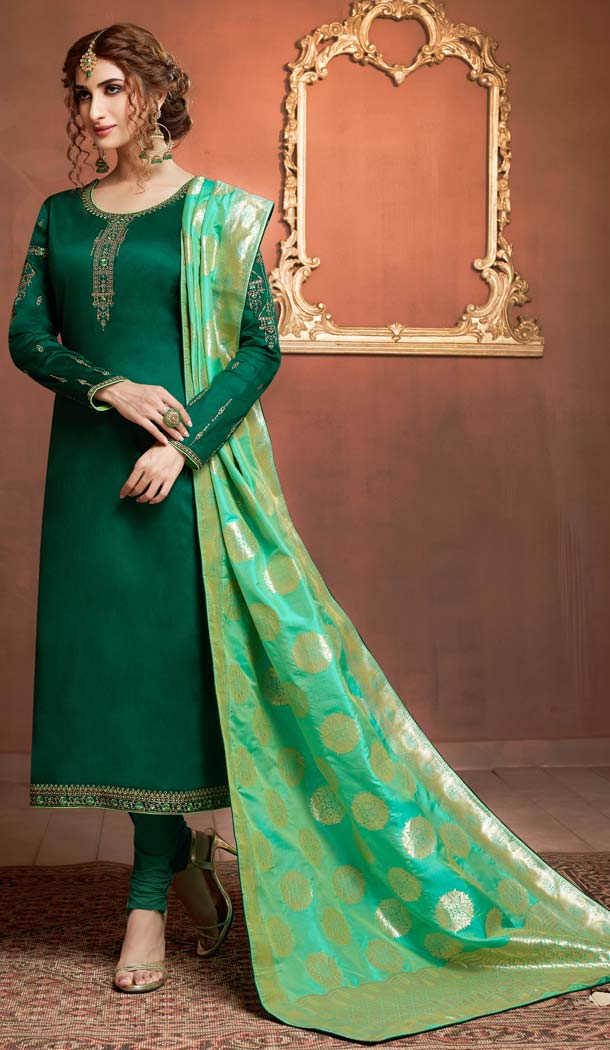 Forest Green Color Pure Cotton Jaam Silk Casual Party Salwar Kameez -618777201