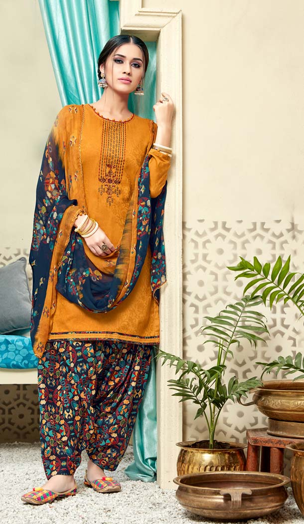 Orange Color Pure Jam Cotton Casual Wear Punjabi Patiyala Dress -620277373