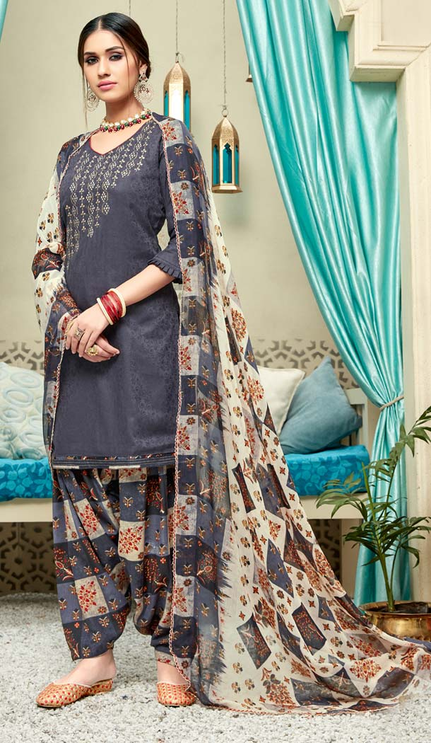 Dark Grey Color Pure Jam Cotton Casual Wear Punjabi Patiyala Dress -620277374