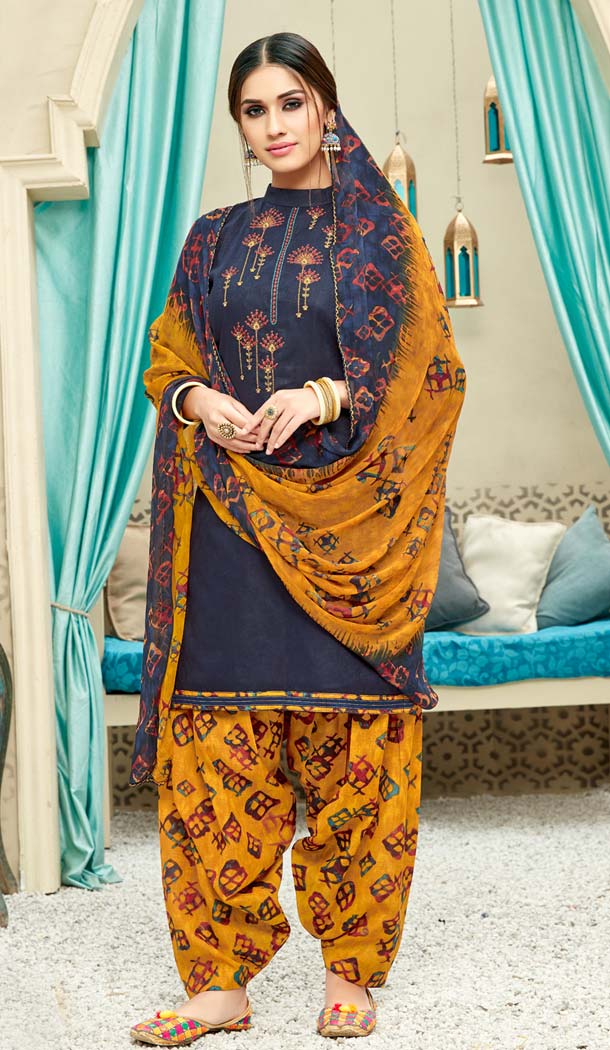 Navy Blue Color Pure Jam Cotton Casual Wear Punjabi Patiyala Dress -620277376