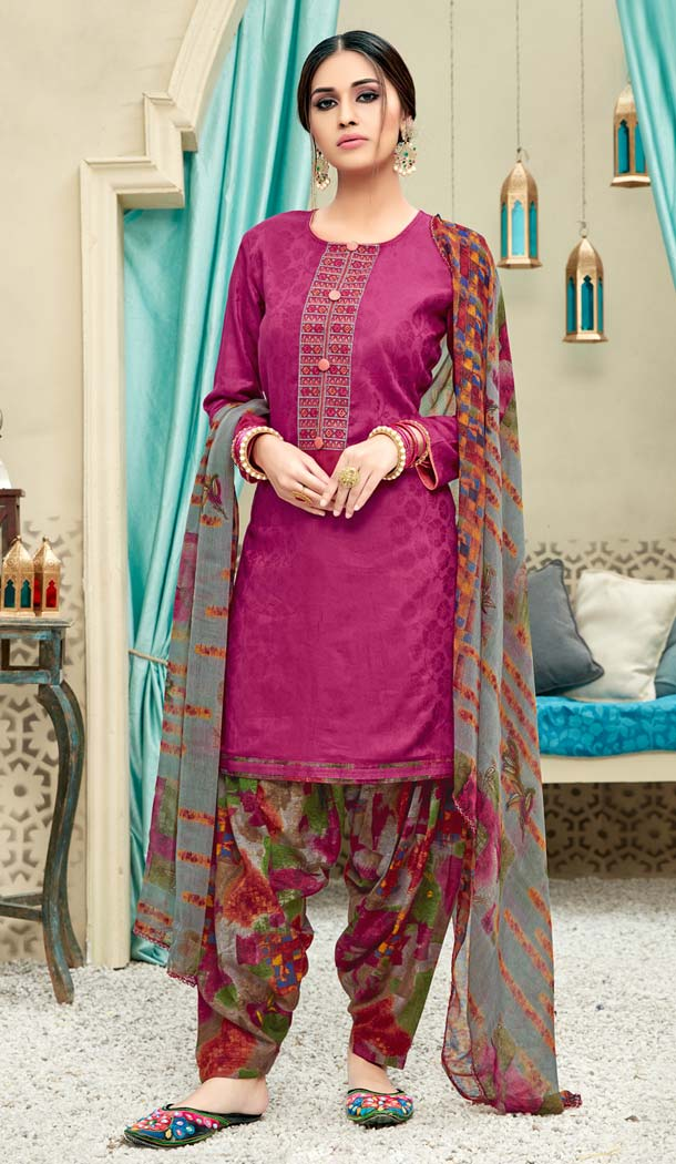 Pink Color Pure Jam Cotton Casual Wear Punjabi Patiyala Dress -620277378