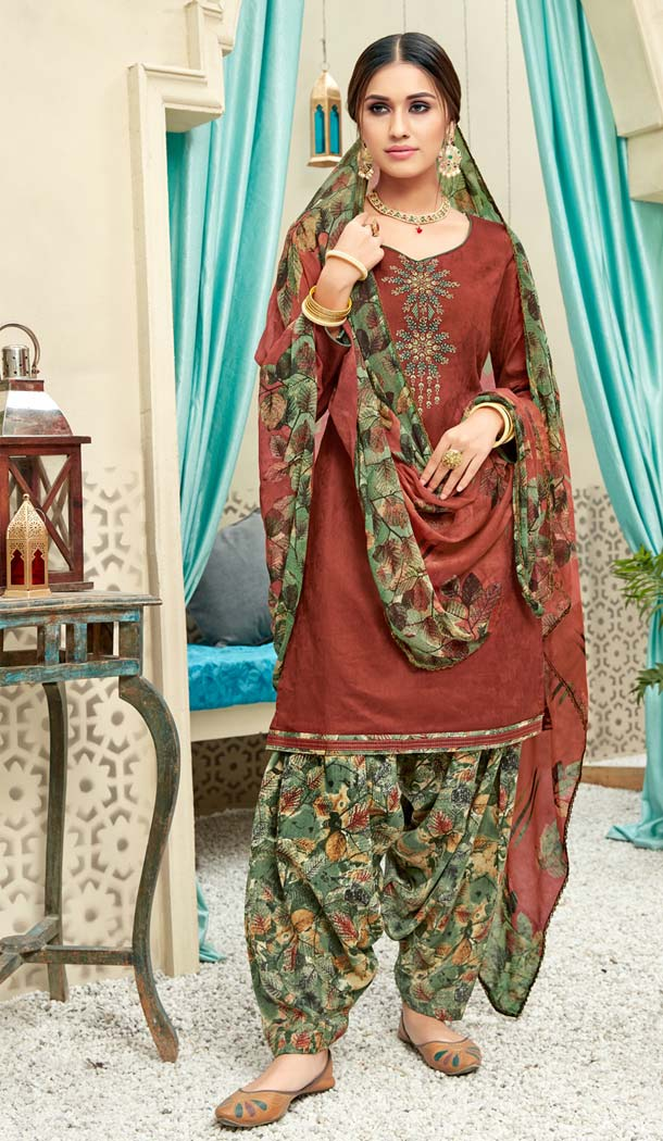 Maroon Color Pure Jam Cotton Casual Wear Punjabi Patiyala Dress -620277379