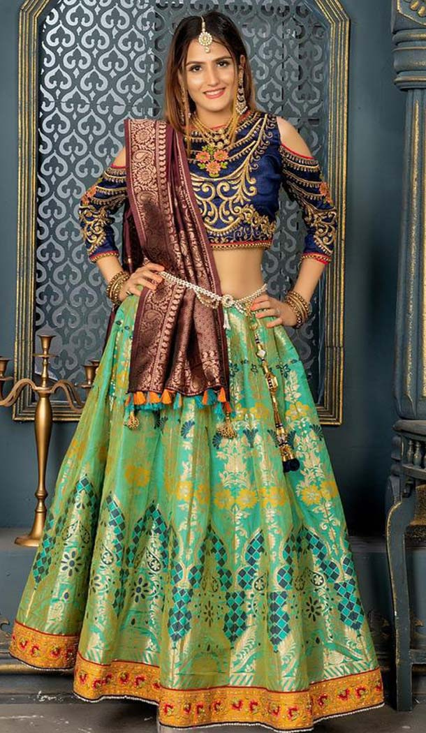 Parrot Green Color Banarasi Silk Designer Fancy Lehenga Choli -456264901