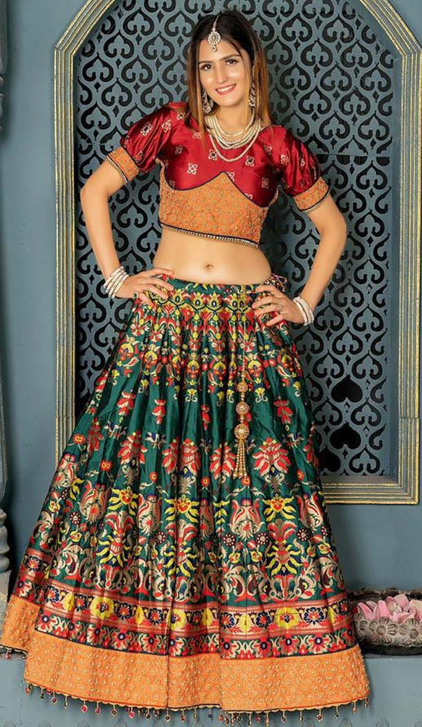 Green Maroon Color Banarasi Silk Designer Fancy Lehenga Choli -456264904