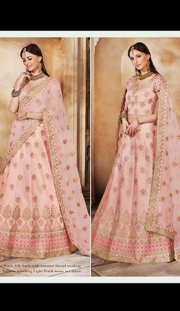 Baby Pink Color Satin Silk Designer Bridal Wear Lehenga Choli -633478937