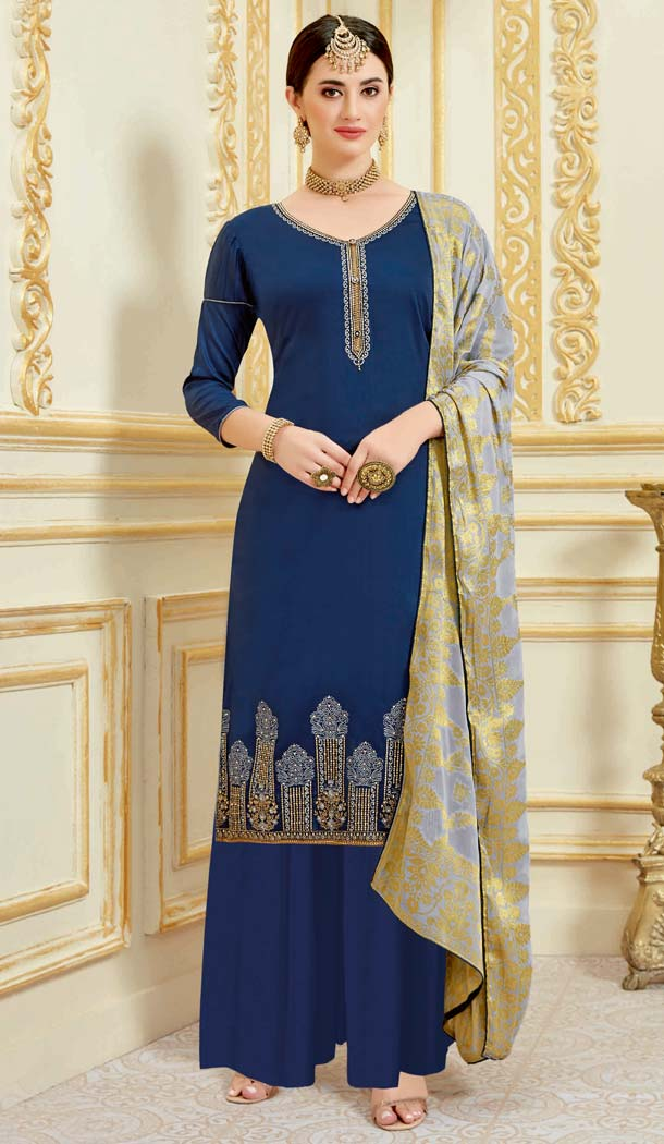 Navy Blue Color Pure Zam Satin Casual Party Wear Palazzo Suit -637779784