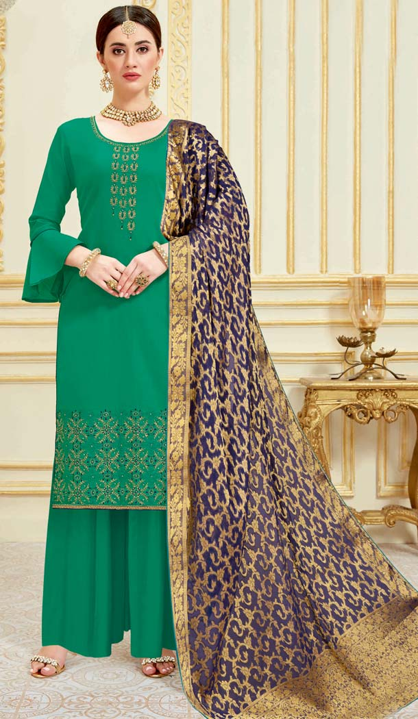 Green Color Pure Zam Satin Casual Party Wear Palazzo Suit -637779787