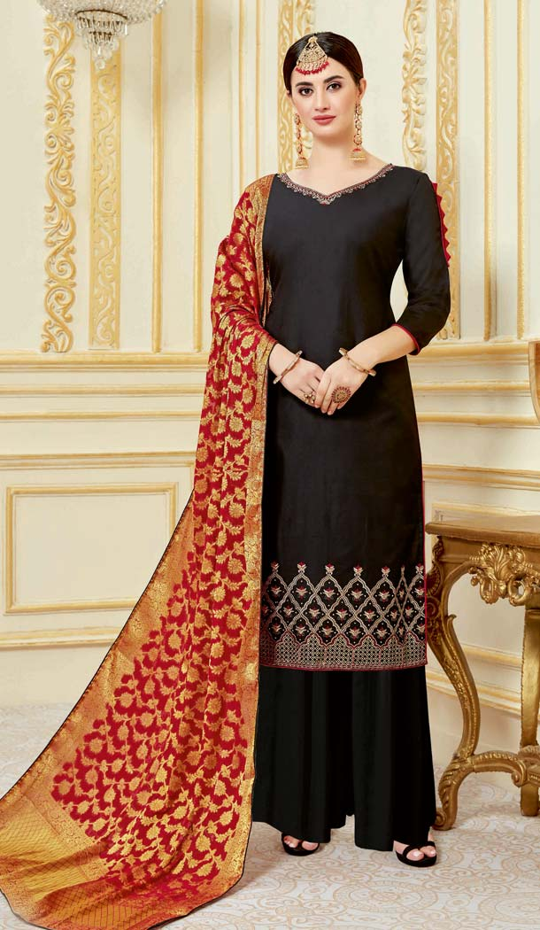 Black Color Pure Zam Satin Casual Party Wear Palazzo Suit -637779788