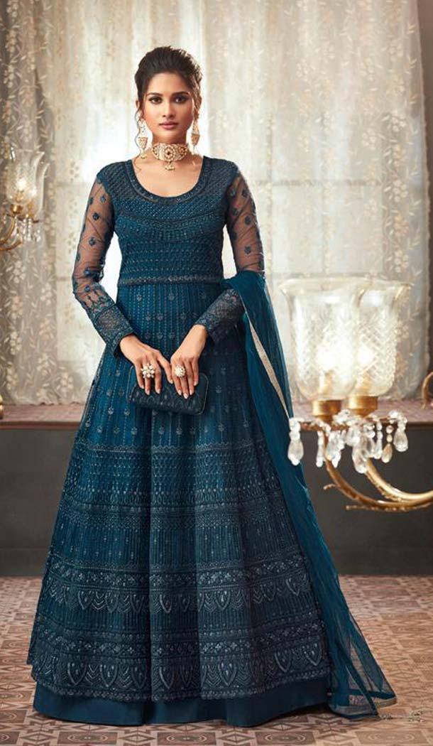 Dark Firozi Color Net Designer Long Anarkali Salwar Kameez -453664670