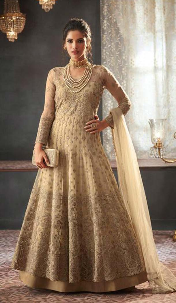 Cream Color Net Designer Long Anarkali Salwar Kameez -453664672