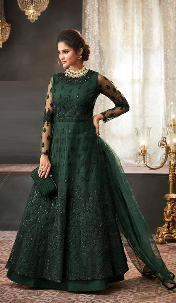Dark Green Color Net Designer Long Anarkali Salwar Kameez -453664673