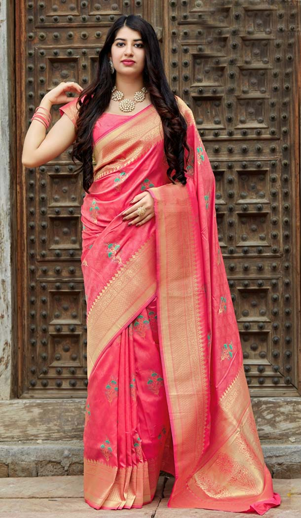Pink Color Banarasi Silk Designer Saree Blouse in Plus Size -638579876