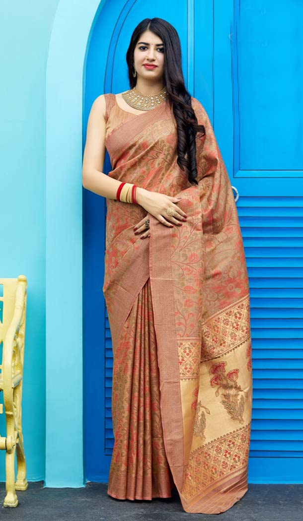 Light Brown Color Tanchoi Silk Designer Saree Blouse in Plus Size -638579879