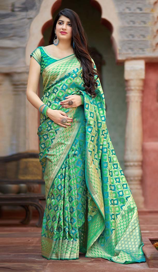Green Color Banarasi Satin Designer Saree Blouse in Plus Size -638579881