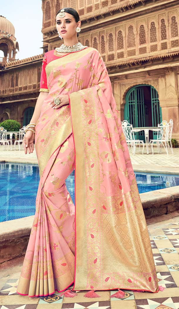 Baby Pink Color Silk Designer Wear Wedding Wear Saree Blouse -638079806