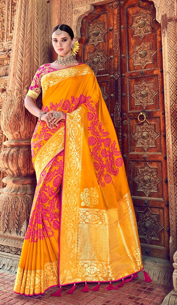 Yellow Color Silk Designer Wear Wedding Wear Saree Blouse -638079807