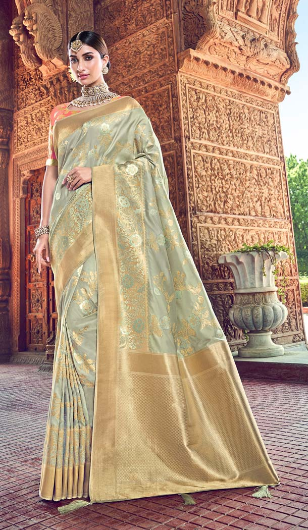 Glamorous Grey Color Silk Designer Wear Wedding Wear Saree Blouse -638079811