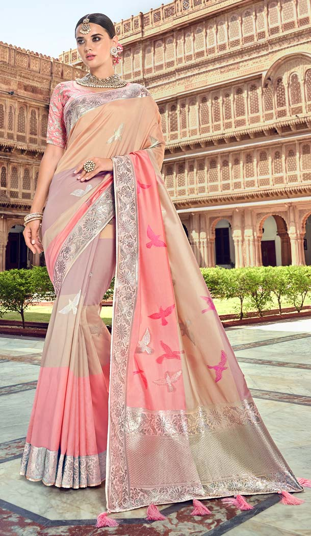 Exquisite Multi Color Silk Designer Wear Wedding Wear Saree Blouse -638079817