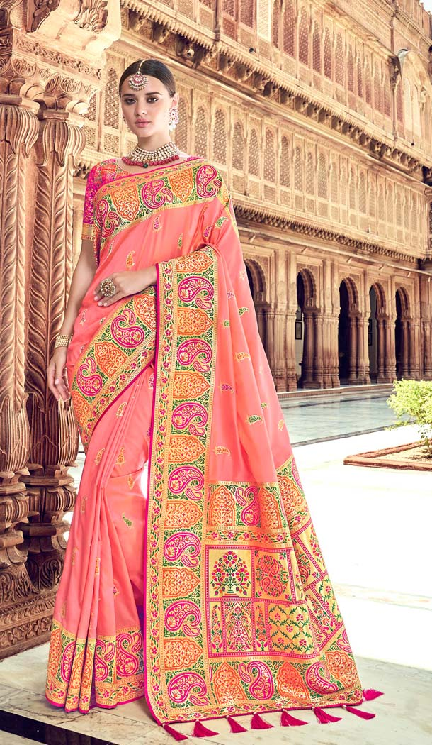 Peach Color Silk Designer Wear Wedding Wear Saree Blouse -638079819