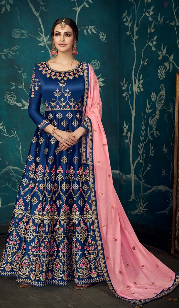 Navy Blue Pure Sartin Silk Party Long Anarkali Salwar Kaneez -638679889