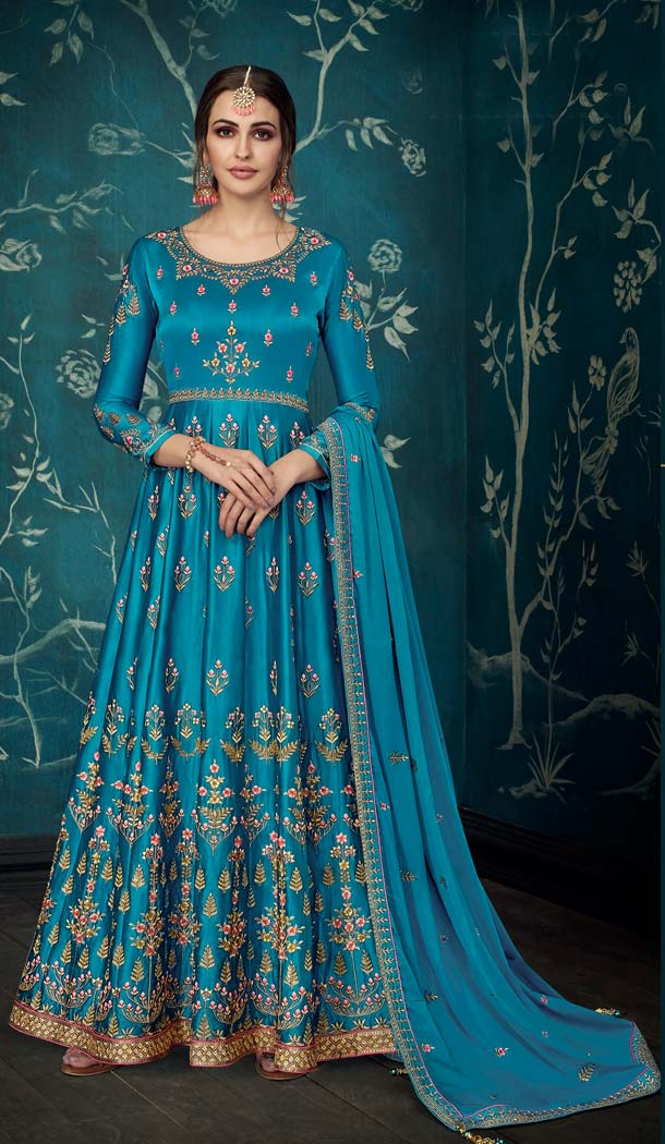 Blue Sartin Silk Party Long Anarkali Salwar Kaneez -638679891