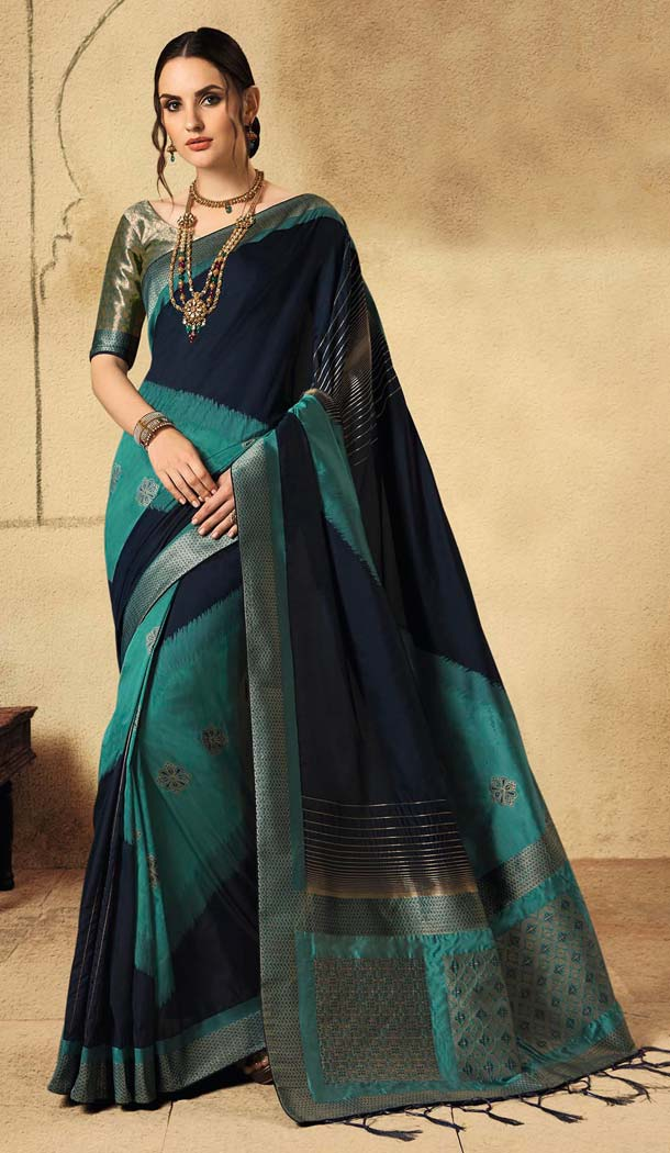 Adorable Multi Color Banarasi Silk Designer Wear Wedding Saree -639279926
