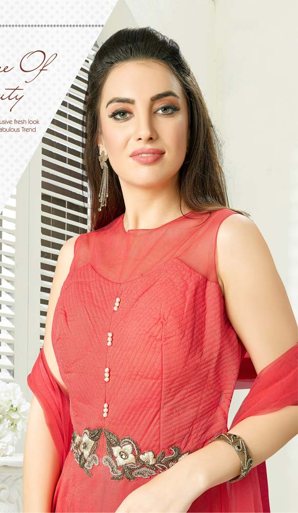 Tomato Red Color Georgette Designer Readymade Salwar Kameez -641280156