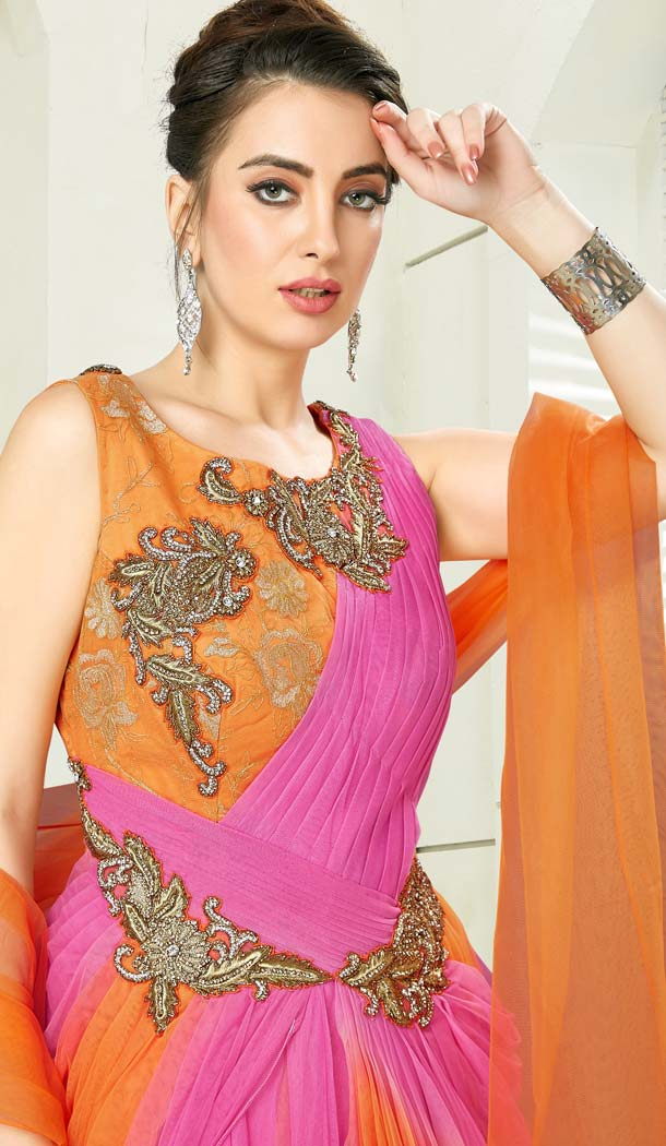 Orange Color Chanderi Designer Readymade Salwar Kameez -641280158