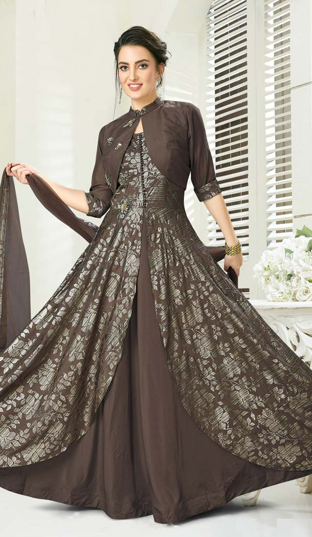 Coffee Color Jacquard Designer Readymade Salwar Kameez -641280161