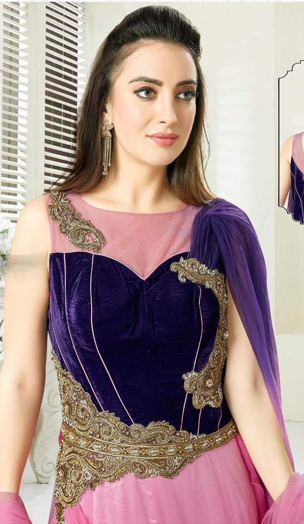 Pink Purple Color Silk Designer Readymade Salwar Kameez -641280164