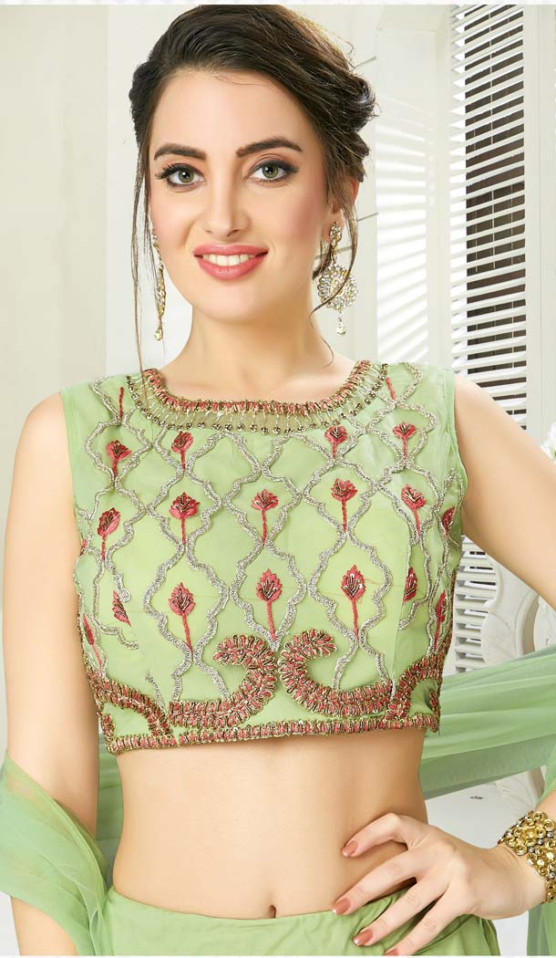 Pista Green Color Net Silk Designer Readymade Lehenga Choli -641280165