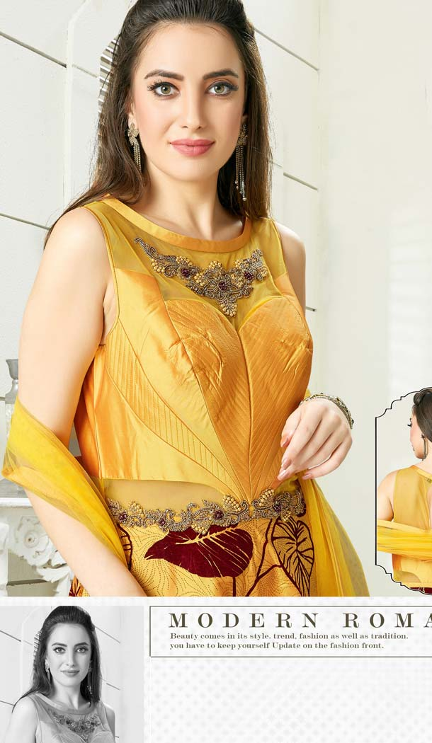 Gold Yellow Color Silk Designer Readymade Salwar Kameez -641280167