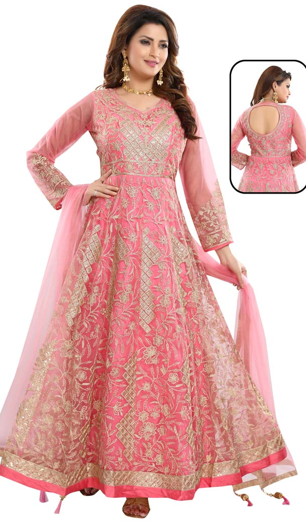 Pink Color Net With Butter Crape Readymade Anarkali Dress -647080782