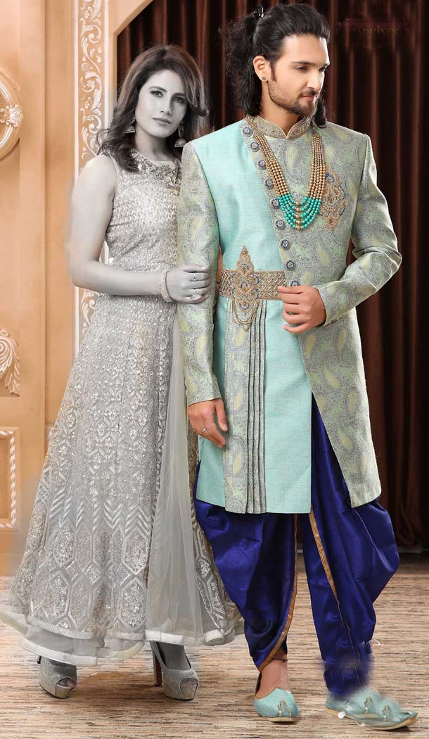 Affluent Firozi Color Imported Designer Readymade Man Sherwani -639779993