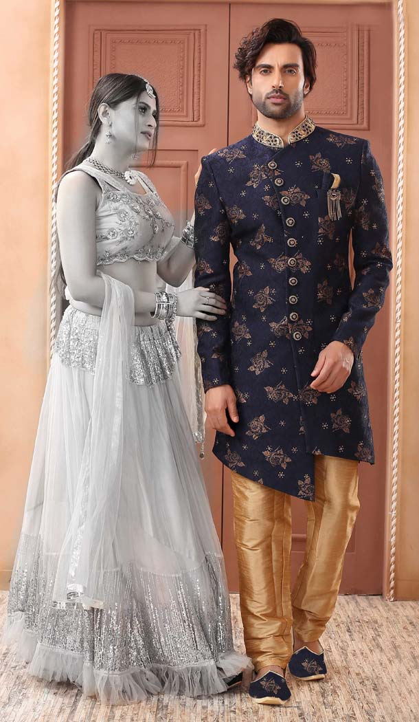 Flamboyant Blue Color Imported Designer Readymade Man Sherwani