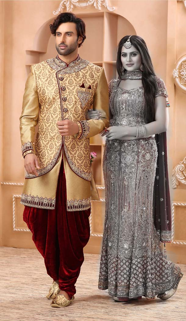 Enigmatic Gold Color Imported Designer Readymade Man Sherwani -639780018