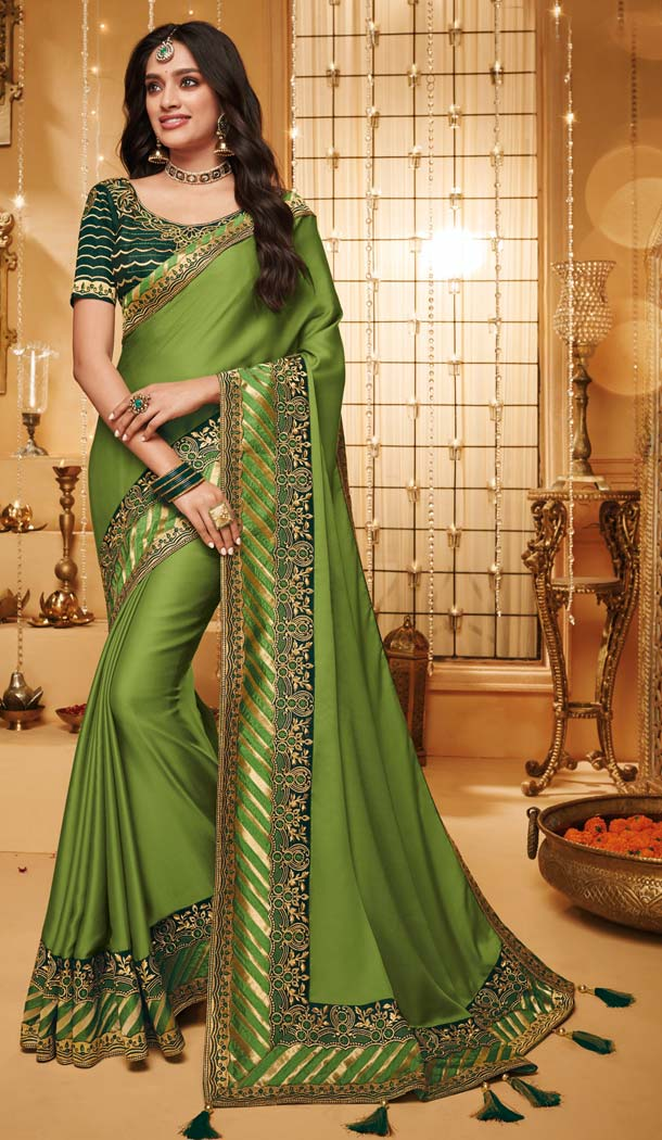 Alluring Green Color Silk Designer Party Wear Saree Blouse -644780588