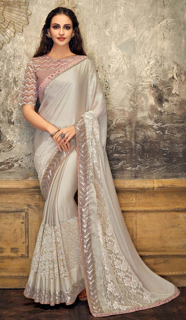 Adorable Grey Color Lycra Fancy Net Designer Party Wear Saree -648080950