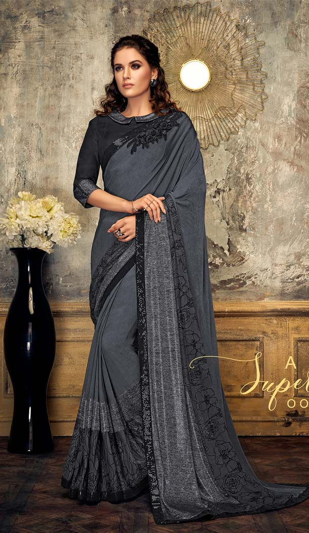 Adorable Grey Color Lycra Designer Party Wear Saree -648080952