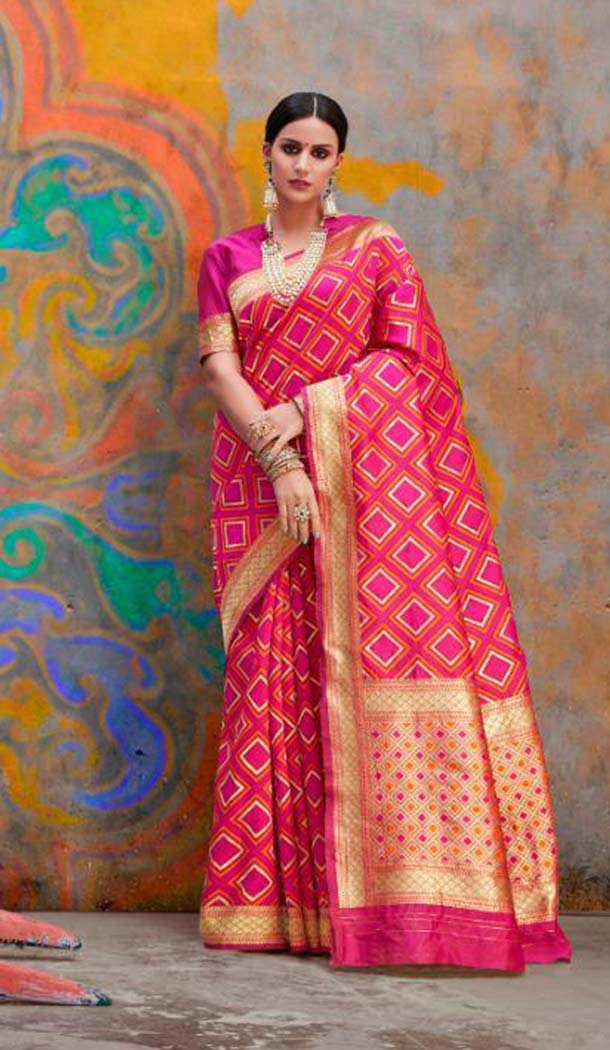 Pink Color Handloom Weaving Silk Traditional Saree -649181132