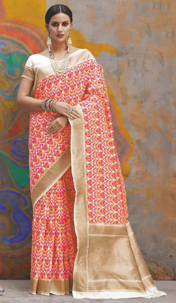 Stunning Multi Color Handloom Weaving Silk Traditional Saree -649181134