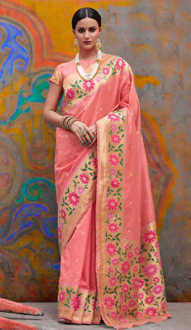Classic Peach Color Handloom Weaving Silk Traditional Saree -649181136