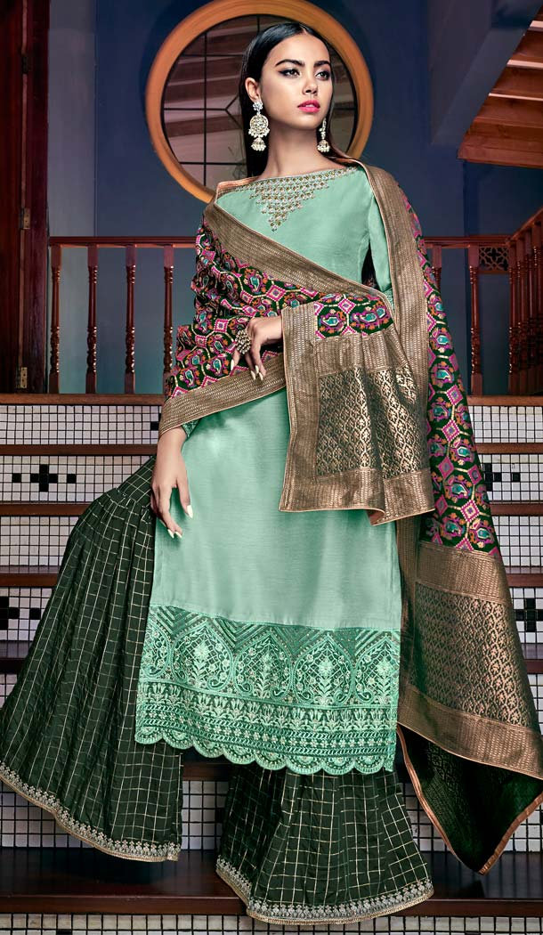 Adorable Sea Green Color Tussar Art Silk Party Sharara Suit -70089597