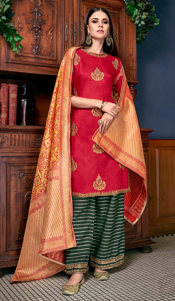 Adorable Red Color Soft Art Silk Party Sharara Suit -70089606