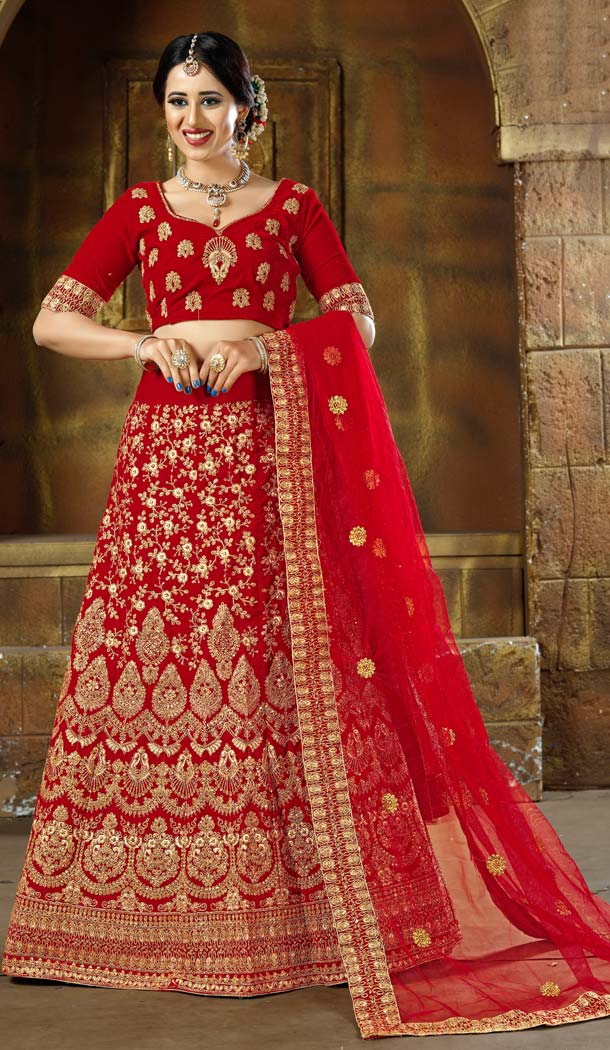 Aesthetic Red Color Velvet Designer Bridal Lehenga Choli -5284496