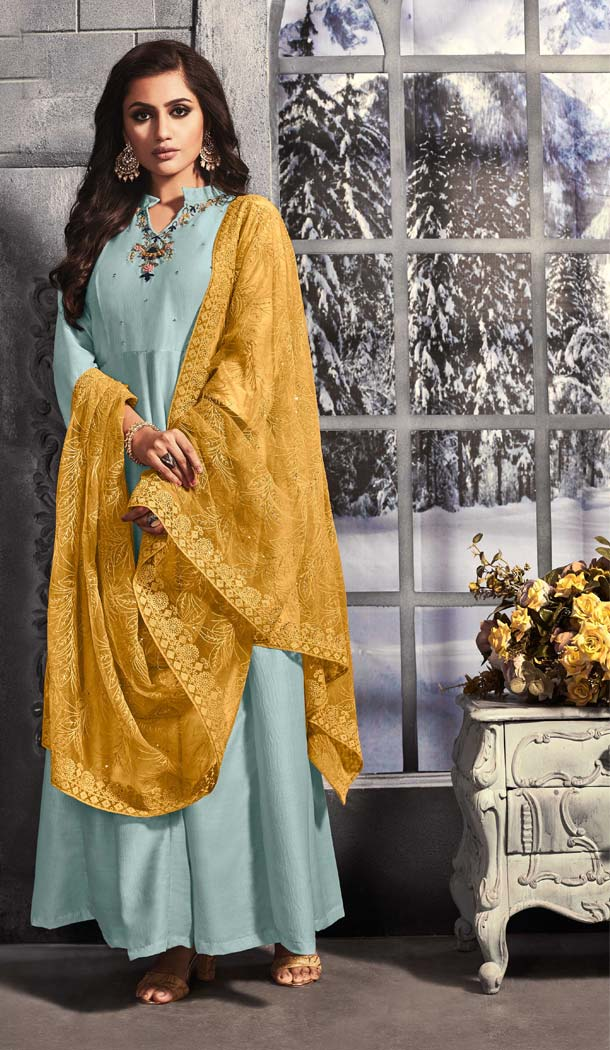 Aqua Blue Color Muslin Readymade Party Wear Gown Suit -652481578