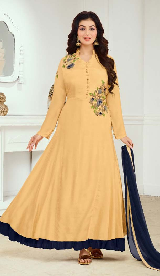 Yellow Color Cotton Satin Celebrity Aysha Takia Salwar Kameez -467665730